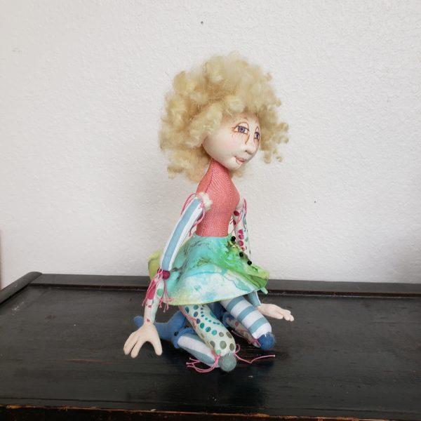 kneeling pixie handmade cloth fabric doll