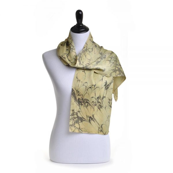green and gray hand dyed silk scarf with natural dyes