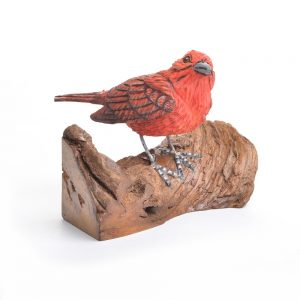 handcarved summer tanager, red bird carving
