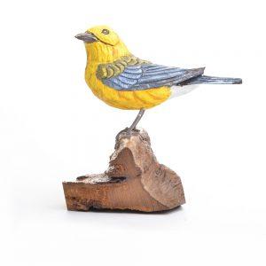 yellow american bird, handcarved bird, birdwatcher gift, warbler
