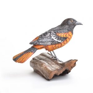 carved and painted baltimore oriole, eastern bird carving,