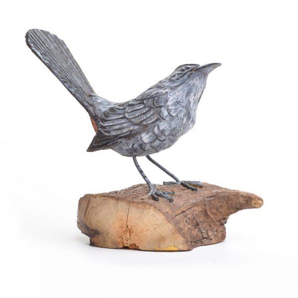 carved cat bird, handcarved wooden cat bird, nc bird watcher