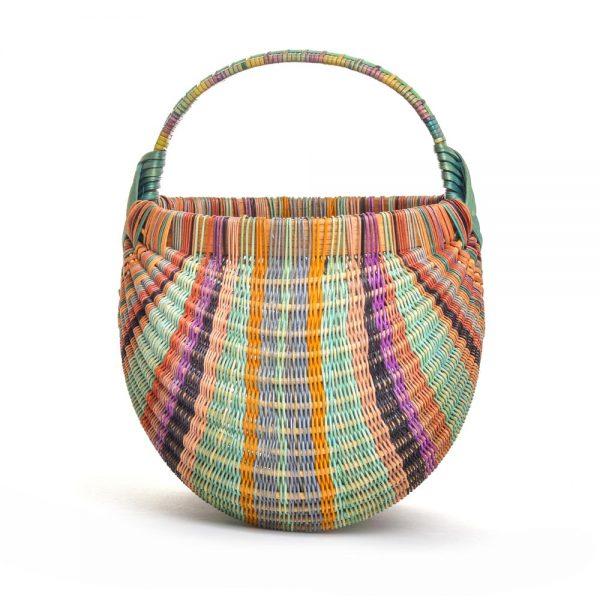 rainbow handmade basket, collectible handmade basket, nc basket maker