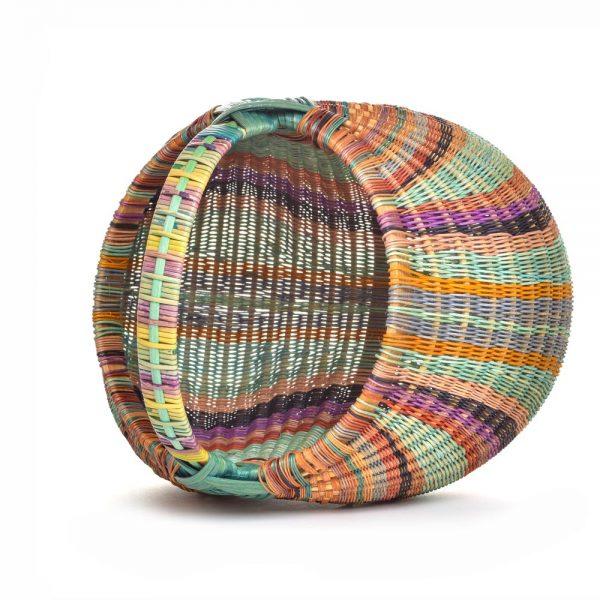 top view of handmade rainbow basket