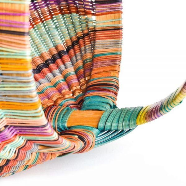 handle detail of rainbow handmade basket