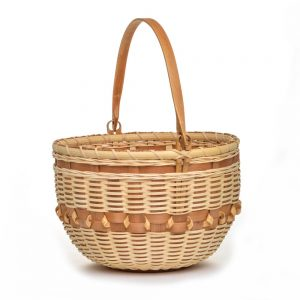 huge handmade basket, natural colored large round basket with swing handle