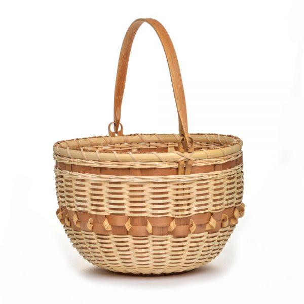 huge handmade basket, natural colored large round basket with swing handle