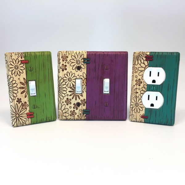 colorful handmade light switches
