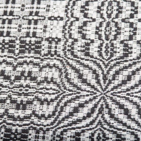 black and white handwoven table runner detail, lee's surrender pattern
