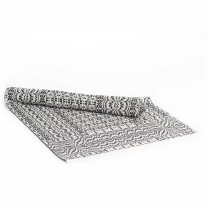 black and white handwoven table runner, appalachian fiber artist
