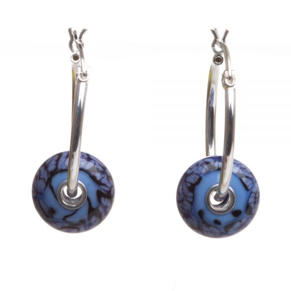 bright blue glass bead earrings, handmade lampworked blue and black glass beads