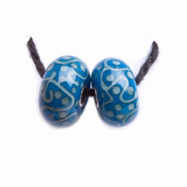 teal blue handmade glass beads, lampworked glass blue beads