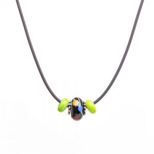 green and black glass bead, affordable necklace, handmade glass beads, art glass beads