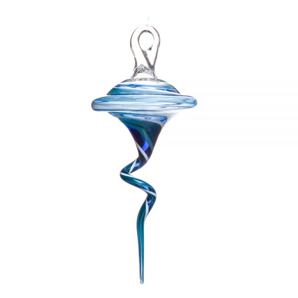 blue glass squiggle ornament, biltmore glass artist, gallery of the mountains glass artist