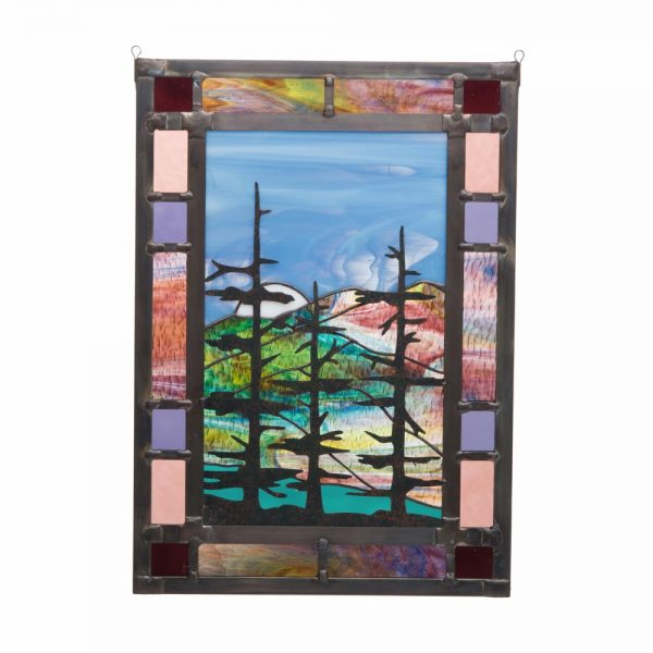 mountain stained glass, large stained glass panel, mountain home decor