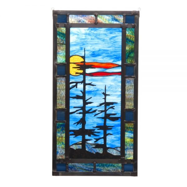 blue stained glass glass landscape, mountain home stained glass, nc stained glass artist, folk art center,