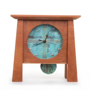 large copper and wood mantle clock, handmade pendulum clock, nc woodworker, nc clock