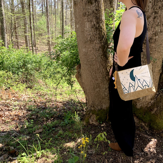 cross body messenger bag with mountain scene, hand printed bag