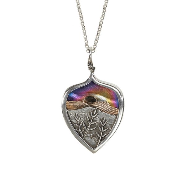 sunset mountain necklace, hiker necklace,