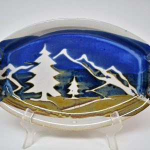 oval white serving dish with mountain decoration, mountain kitchen decor