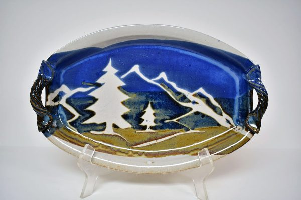 oval white serving dish with mountain decoration, mountain kitchen decor