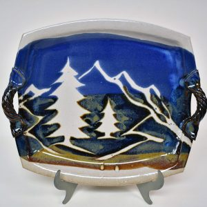 white ceramic mountain serving dish with handles, mountain kitchen decor