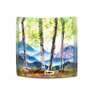 spring glass landscape, fused glass, glass blowing, glass scupture, mountain home decor