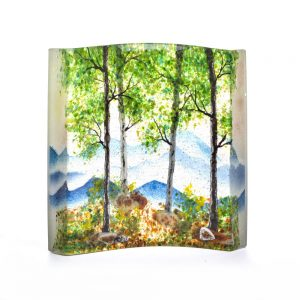 blue ridge mountain glass, glass landscape, fused glass, cast glass artist, imagery in glass