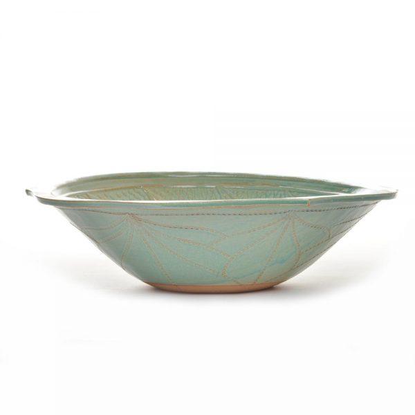 light green large handmade ceramic bowl, pottery bowl, kitchen gift, wedding gift, handmade housewarming gift