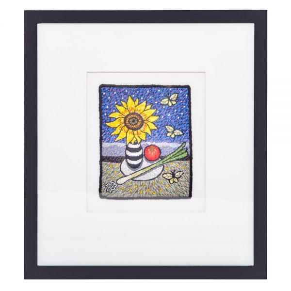 framed embroidered landscape, framed sunflower print, mountain home decor