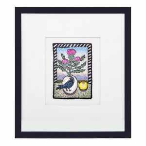 embroidery art, framed fiber art, mountain art, colorful framed unique art