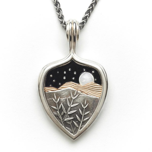 large mountain necklace with layers mountains and black enamel sky, mountain jewelry, appalachian jewelry