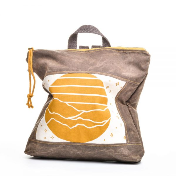 yellow and white mountain canvas back pack