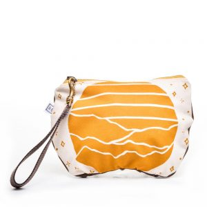 yellow and white waxed canvas small clutch purse with zipper and inside pocket,