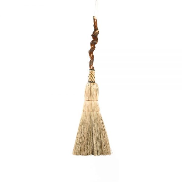 gnarly broom, handmade broom with twisted vine handle and large sweeper, wnc broommaker, traditional crafts