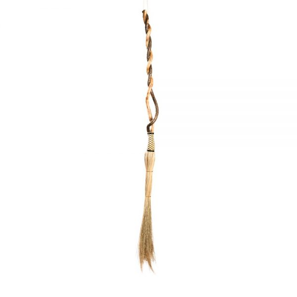twisted handle broom for getting the tall corners, cobweb room, handmade in Wnc