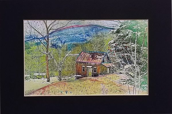 printed picture on cotton with quilting and hand embroidery, mountain home scene with trees and mountains