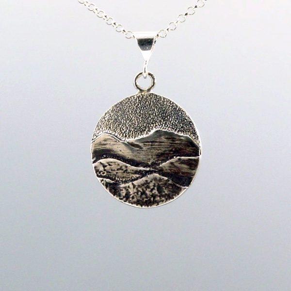 blue ridge mountain jewelry, sterling silver handmade mountain necklace,