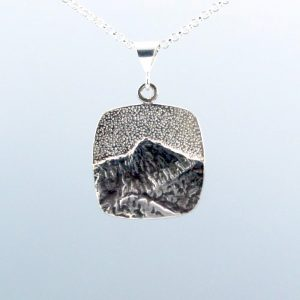 square silver mountain necklace, handmade mountain pendant with patina