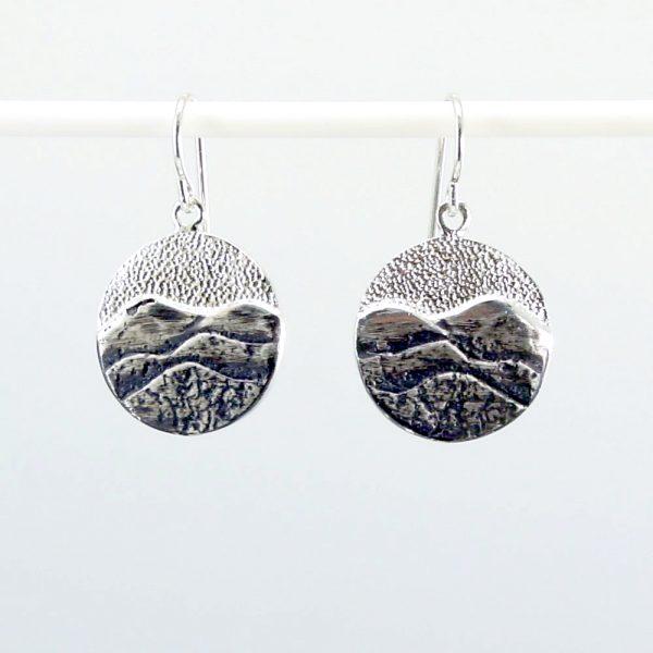 round mountain silver earrings, handmade blue ridge mountain earrings