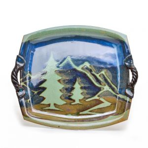mountain serving tray, handmade ceramic tray with mountain decoration and little handles