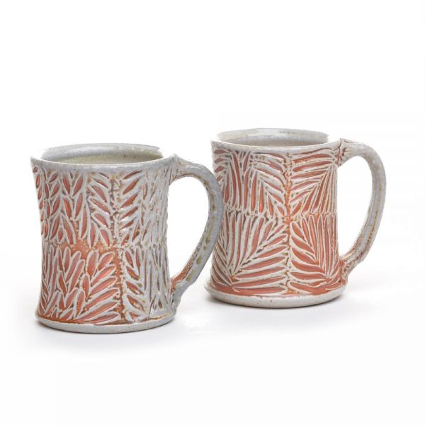 carved soda fired ceramic coffee mug