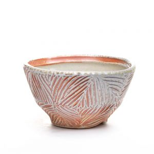 carved ramen bowl, carved and soda fired orange and white bowl