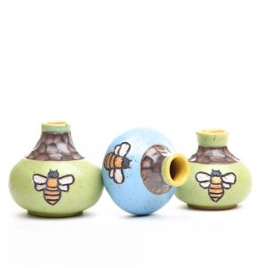 bee bud vase, small colorful ceramic short vase with bee