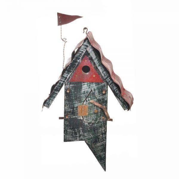 green recycled wood birdhouse, metal roof birdhouse, handmade funky birdhouse, mountain home room decor