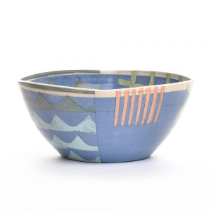 blue large bowl with waves and orange stripes