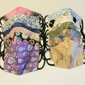 handmade cotton masks with area for coffee filter