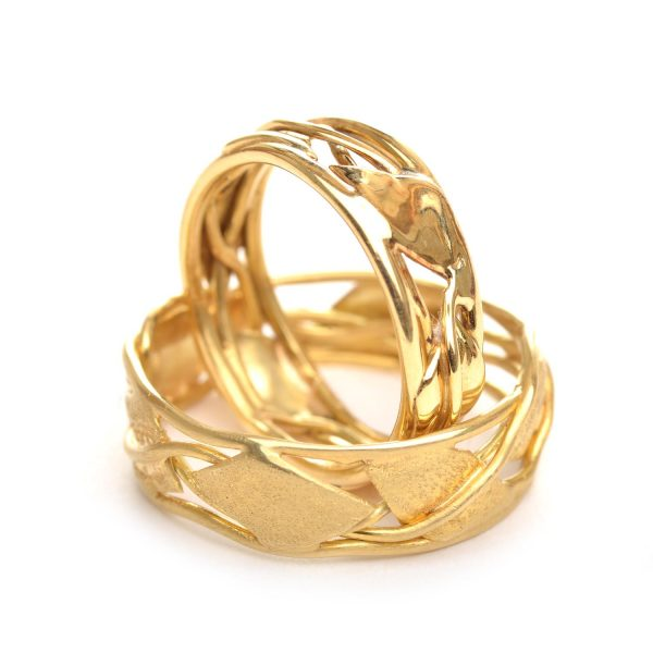 gold vine and leaf ring bands, nc handmade gold rings