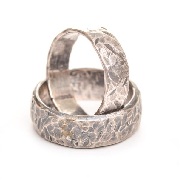 silver hammered wedding bands, nc jewelery