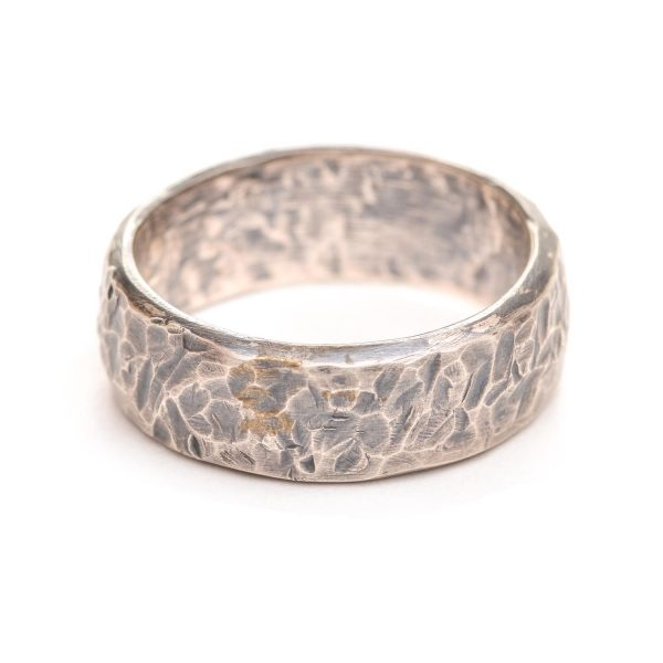 heavy hammered silver oxidized wedding band